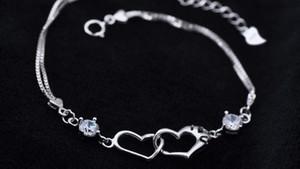925 Посеребренная Сердце Браслеты Цепи Счастья сигнала двойного сердца Кристалл браслеты День Святого Валентина подарок ювелирных изделий Дешевые