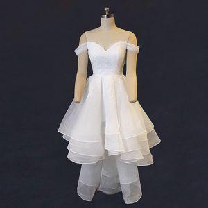 Réel hors de l'épaule robes de mariée de plage basse haute dentelle salut lo volants robes de mariée en organza boho robes de mariée de jardin de haute qualité