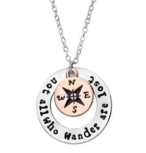 Collier Compass Lettre Pas tous ceux qui errent sont perdus Compass Pendentif Collier Collier Inspirants Cadeaux Creux Rond Bijoux De Mode