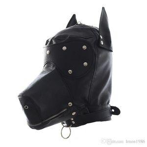 Mascarade masques en cuir gimp chien chiot capuche plein masque bouche gag costume fête masque zippé muzzel