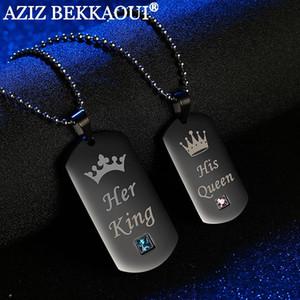 Son roi sa reine Couple colliers avec boîte noire en acier inoxydable Tag pendentif collier avec des bijoux en pierre cadeau de Noël