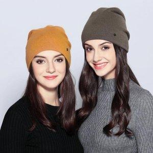 Nueva llegada de la mujer Beanie Hat Invierno Cálido Casual de punto Cashmere Gorros Damas Skullies Gorros Sombrero Capo