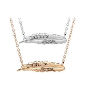 Гарри книга письмо Wingardium Левиоса кулон ожерелье серебро золото Lvitating заклинание перо подвески для женщин мужчины Поттер ювелирные изделия Dros корабль