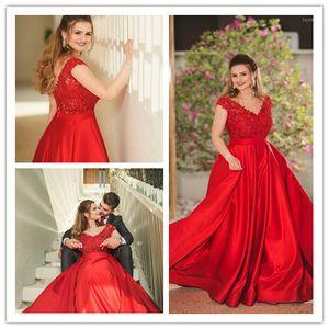 Red A Line Elegant Plus Size Свадебные платья Свадебные платья 2019 Сатинировка V Шея Дешевые свадебные платья Mariage
