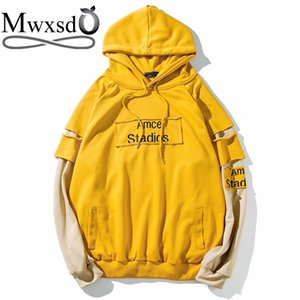 Mwxsd  fashion men hoodies fake two piece solid cotton sweatshirts spring men's fitness hip-hop stident tracksuits M-5XL