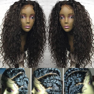 Кружева фронтальная парик 360 предварительно перебирают воды волна человеческих волос 360 полный парик фронта шнурка с волосами младенца 130%denstiy 18 дюймов