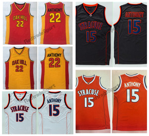 خمر سيراكيوز أورانج كاميرلو أنتوني # 15 كلية كرة السلة الفانيلة 22 كاميرلو أنتوني أوك هيل الثانوية مخيط القمصان