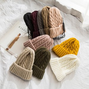 2018 neue Herbst und Winter warme Mütze einfarbig Strick Twist Wollmütze Allgleiches Cover lässig Ohrenschützer Mütze flexibel