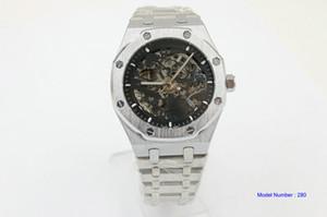 Alta qualità calda orologio automatico orologio quadrante nero reale argento in acciaio inox uomini meccanici gli uomini della cinghia trasporto libero della vigilanza