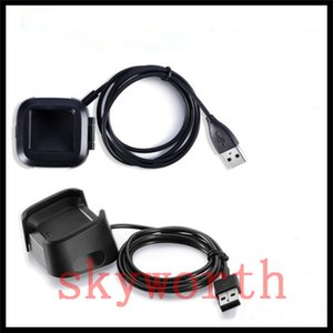 Para Fitbit Versa Lite cabo USB Dock Station Cabos de Carregamento Stand Titular Cabo de dados + caixa de Plástico Preto Bracket Acessórios Inteligentes