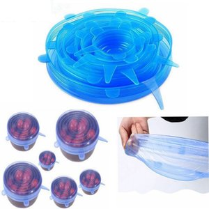 Silicone Stretch Lids Food Fruit Fresh Keeping Cover Wrap Tapas Cover For Bowls Pots Cup Utensilios de cocina Accesorios 6 unids / set HH7-1057