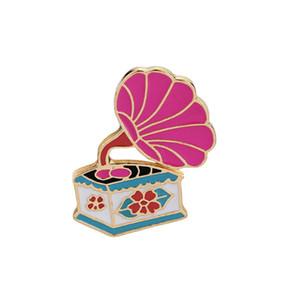 Cartoon Emaille-Rosa-Plattenspi Gramophone-Brosche Mantel Hemd Rucksack Jeansjacke Kragen Pin-Revers-Metallabzeichen Vintage-Schmuck