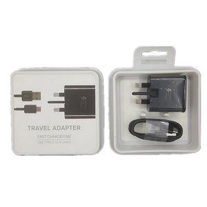 2 в 1 адаптивное быстрое зарядное устройство 9 в быстрая зарядка 1.2 м Тип-C кабель ЕС Великобритания США штекер USB главная стена быстрый комплект адаптер путешествия для Samsung s9 s8