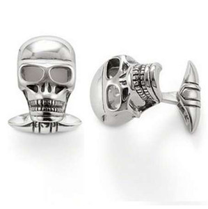 Gümüş Kaplama Kafatasları Kol Düğmeleri Fit Gömlek, En Moda Moda Aksesuarları Takı Bijoux Kadınlar Için Kol Düğmeleri Casual Hediye Erkekler