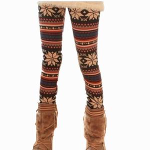 Fashion Women Leggings Xmas Snowflake Reindeer Knitted Capris Autumn Winter Warm Printed Capris