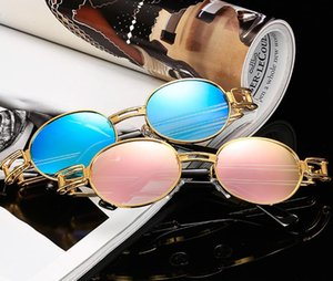2018 Sun glasses Eyewear Punk new sunglasses fashion round frame classic metal punk steam retro sunglasses A635