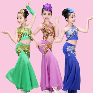 Chinese Folk Dance Children Dai Dance Clothing Peacock Belly Costumes For Girls Kids Fishtail  Traditional Costume