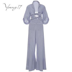 Young17 envoltório macacão romper listrado azul ata acima bolsos macacão elegante longo feminina 2017 nova sexy bodysuit macacão outono