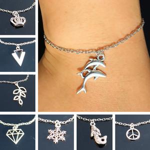 Women Bracelets & Bangles Fashion Jewelry Retro Crown Dolphin Leaf Feather Triangle Snowflake Bijoux pulseras