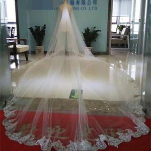 Borda longa do laço dos véus do casamento do comprimento da catedral de Bling Bling com cristais 4M Acessórios nupciais para casamentos duas camadas feito-à-medida