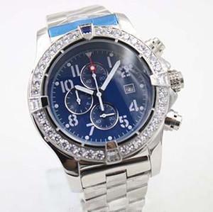 2019 nuevo reloj para hombre Estilo Relojes de cuarzo Estuche de diamantes Azul Gran esfera Acero inoxidable Hombre 1884 Relojes de Montre Homme
