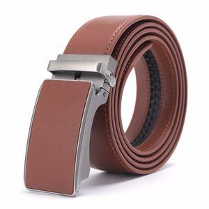 2017 Nuevo Diseñador Popular de Lujo Cinturón de Cuero de Vaca Marrón Hebilla Automática Cintura Del Vientre Correas de Negocios Casual Para Hombres 3.4 Ancho