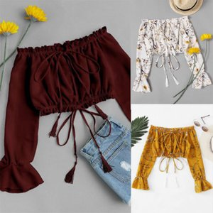 Fashion Womens Ladies Girl Summer Floral Chiffon Blouse Shirts Casual Off Shoulder Tassels Short Blouses Cropped Tops Shirt