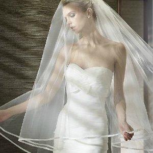 Toptan Gelin Veil Tek Kat Şerit Sarılmış Evli Uzun Fragman Tek Hat Amerikan Net Veil Gelin Veils