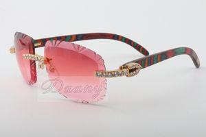 El enchufe de fábrica caliente corte de madera natural tallada color Gafas de sol, 8300075-A, de gama alta de lujo gafas de sol de diamante Tamaño: 58-18-135 gafas de sol