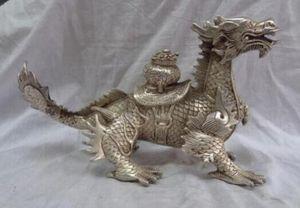 """12"""" Çin Gümüş Servet Hayvan Ejderha Kylin Unicorn Zun Bowl Bronz Statuei Daha Kaplumbağa"""