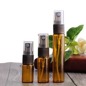 300Pcs 3ml 5ml 10ml Mini Amber Glass Perfume Spray Botella Recargable Vacío Cosmético Botellas de atomizador de agua