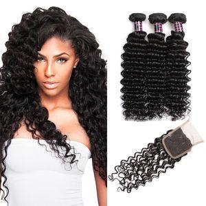 Cheap Brazilian Deep Wave Virgin Hair With Closure 3pcs Brazilian Deep Wave Hair Bundles With Closure 4pcs lot Human Hair Weave With Closure