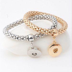 Metal Snap buttons noosa Bracelet Elastic Snake Chain Bracelet Bangles fit 18MM snap buttons Women Unisex Jewelry 3 Color b099