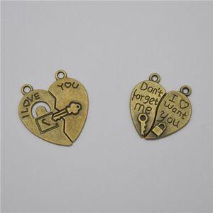100sets Bronze Charme Pingentes Coração Shaped Love Lock Pingente Acessórios Jóias DIY