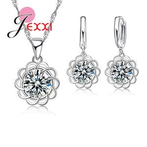 JEXXI очарование подсолнечника женская мода серебряный комплект ювелирных изделий с S925 штамп блестящий CZ Кристалл цветок ожерелье серьги контактный