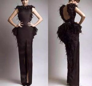 Krikor Jabotian Prom Dresses Vintage Formal Evening Dresses Black Satin Sheath Feather Backless Front Split Sexy Celebrity Gowns