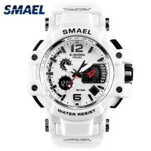 Smael Marque Montres 50M LED étanche Montre numérique Sport hommes Casual Male double affichage Montres-bracelets Horloge Blanc 1509
