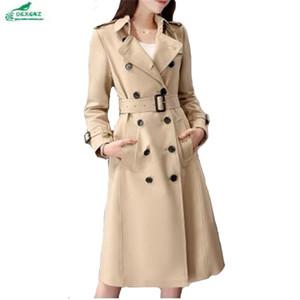 All'ingrosso-OKXGNZ primavera cappotto donna 2017 nuova cachi femminile medio lungo moda giacca a vento cappotto di grandi dimensioni tasche allentate trench coat A162