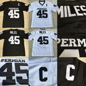 Mens # 45 Boobie Miles Permian Pantera Jersey Todas costuradas Friday Noite luzes Filme Jerseys Black Branco Frete Grátis S-XXXL