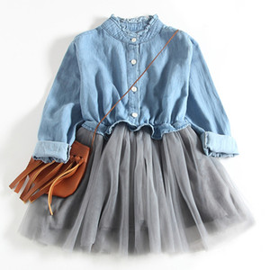 Filles Robe Automne Nouvelle Princesse Denim Robe Pleine Manche Coton Enfants Robe Bébé Vêtements De Filles 2-7 Ans