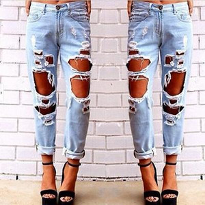 Moda Womens Destroyed Jeans Rasgado Afligido Denim Calças Buraco Boyfriend Jeans Calças Longas Lápis S18101601