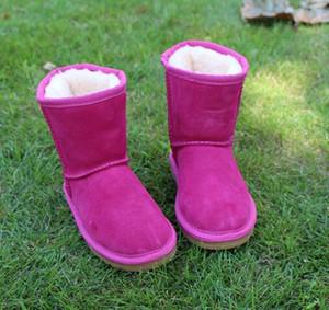 2018 yüksek kalite moda Avustralya çocuk ayakkabıları sonbahar ve kış WGG 5281 kar botları çocuk artı kadife kaymaz deri sıcak ayakkabı