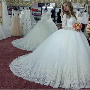 Vintage Balo 2018 Gelinlik Gelinlikler Türkiye Dantel Bling Sequins Tül Uzun Kollu Korse Geri Kabarık Artı Boyutu