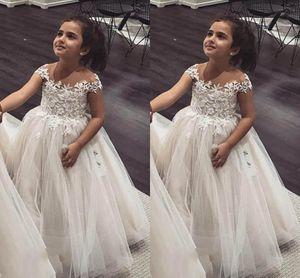 Ball Gown Flower Girls Dresses Sheer Neck Cap Sleeves Lace Tulle Princess Children Wedding Dresses Infant Toddler Birthday Party Dresses