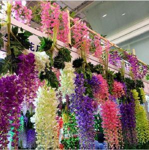 2019 wisteria casamento idéias elegante artificiais flores de seda wisteria videira decorações de casamento 3 garfos por peça branco verde roxo