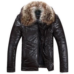 2016 Mens leather down jacket good quality male autumn down jacket winter outwear Comfortable and warm Men 550