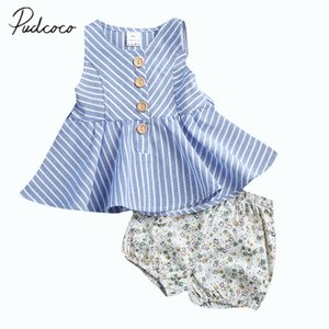 Pudcoco 2017 Summer Infant Toddler Baby Girl Striped Vestido sin mangas Tops + Floral Shorts 2PCS ropa conjunto 0-4Y