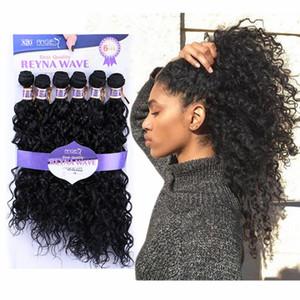 Os melhores produtos de venda de alta temperatura onda de água de fibra sintética extensões de cabelo encaracolado Renya onda costurar em tece para as mulheres negras 1B / 27/30