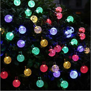 20ft 30 LED Crystal Ball LED String lights Solar Powered Globe Fairy Lights for Outdoor Garden Christmas Decoration
