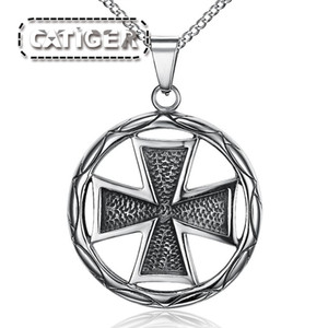 Бесплатная Доставка! Панк-нержавеющая сталь 316L серебро белый черный цвет креста кулон байкер Nacklace (бесплатно мяч цепи )